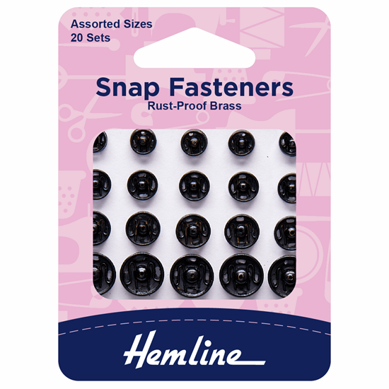 Picture of Snap Fasteners: Sew On Assorted: Black