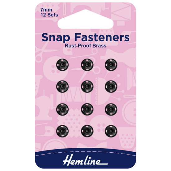 Picture of Snap Fasteners: Sew On 7mm: Black