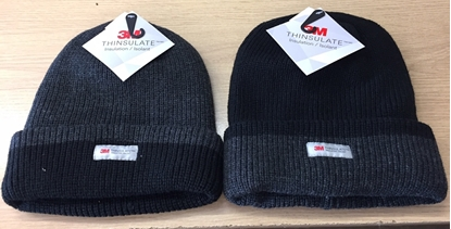 Picture of Adults Winter Hat: Black with Grey Trim