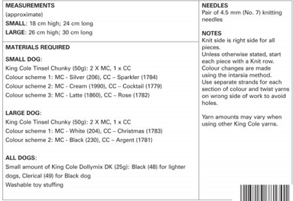 Picture of King Cole Tinsel Chunky Knitting Pattern: 9056 Dogs