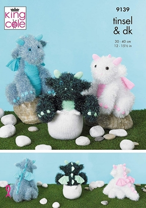 Picture of King Cole Tinsel Chunky Knitting Pattern: 9139 Baby Dragons