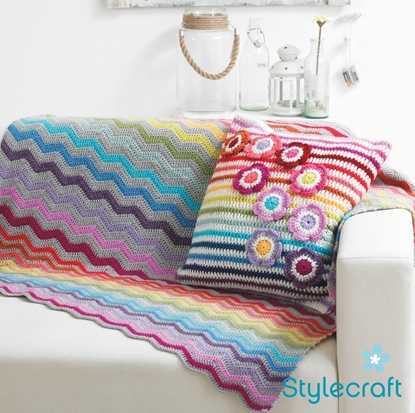 Picture of Stylecraft Free Crochet Pattern: Cushion Cover and Blanket 9091 Download from https://www.stylecraft-yarns.co.uk/Free+Patterns/0_CAFA116.htm