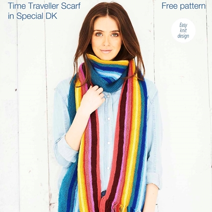 Picture of Stylecraft Free Knitting Pattern: Time Traveller Scarf. Download from https://www.stylecraft-yarns.co.uk/Free+Patterns/0_CAFA116.htm