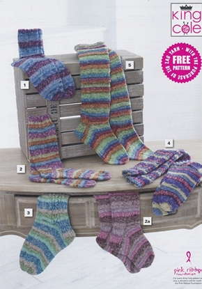 Picture of King Cole Free Knitting Pattern: Zig Zag 4 ply Socks