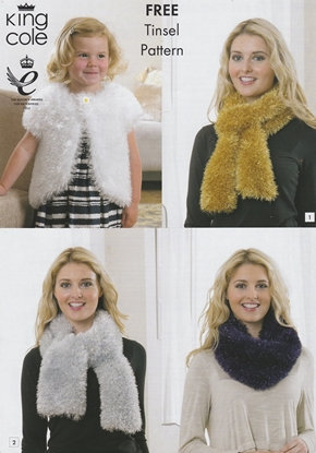 Picture of King Cole Free Knitting Pattern: Tinsel Scarves/Bolero
