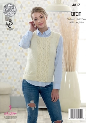 Picture of King Cole Ladies Aran Knitting Pattern: Sweater/Slipover 4817